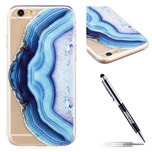 JAWSEU Coque Housse pour iPhone 6/6S 4.7,iPhone 6S Etui en Silicone Ultra Mince iPhone 6 Coque Tpu Cristal Clair Romantique Élégant Beau Mer Coloré Motif Slim Fit Flexible Doux Caoutchouc Couverture E bleu