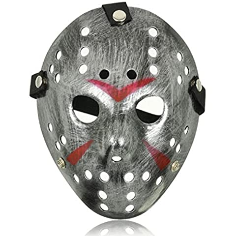 Extrem Fancy Dress Jason X vS Freddy Halloween Freitag der 13. Hockey-Masken in silber Farben Erwachsene PVC Qualität Maske mit elastischem Klettband Fancy Gesicht Maske (Jason Kostüm Freitag Der 13.)