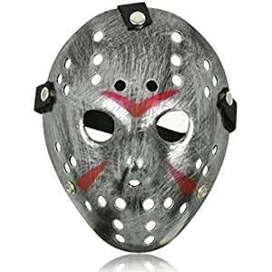 Ultra silberfarbige Fancy Dress Horror Hockey Masken adults PVC-Qualität Maske mit elastischen Riemen Gesichtsmaske Fancy Halloween Costumeplay