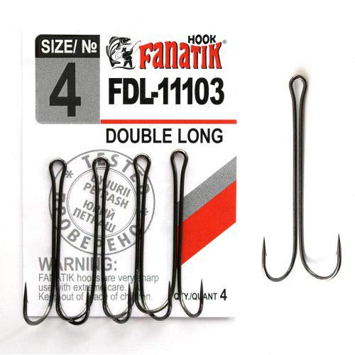 FANATIK Doppelhaken Double Long FDL-11103 gr. 8, 6, 4, 2, 1, 1/0, 2/0, 3/0, 4/0 jig Angel Fishing Hook für Gummiköder Offset (Black, 35mm - #4-4 Stück) -