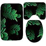 Gnzoe Flanell Teppich/Toilettenmatte-Set Hidden Blätter Muster Design Teppiche für Wohnzimmer Küche Grün 80x50CM
