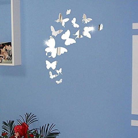 sunnymi 3D Schmetterling Acryl-Spiegel-Wand-Aufkleber DIY 14pcs Fernseheinstellungswand Dekorativen Aufkleber Wandaufkleber Wandtattoo Wandsticker (Schmetterling, Silber)