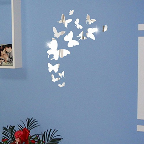 sunnymi 3D Schmetterling Acryl-Spiegel-Wand-Aufkleber DIY 14pcs Fernseheinstellungswand Dekorativen Aufkleber Wandaufkleber Wandtattoo Wandsticker (Schmetterling, Silber) Indoor Outdoor Besen Set