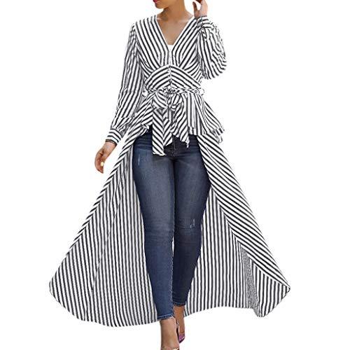 Linkay T Shirt Damen Langarm BluseUnregelmäßiger Streifen Tops Krawatte Oberteile Mode 2019 (Schwarz, Medium) - 16 Medium Beige Leinen