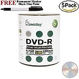 Smartbuy 500-disc 4.7GB/120min 16x DVD-R Silver Inkjet Hub Printable Blank Media Disc + Black Permanent Marker