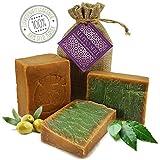 2 x 200g Premium Aleppo Seife 40% Lorbeeröl 60% Olivenöl von Kultura World - Veganes Naturprodukt - 100% pflanzlich - Ohne Mikroplastik und Palmöl - Handarbeit im Traditionsbetrieb - Lorbeer Seife