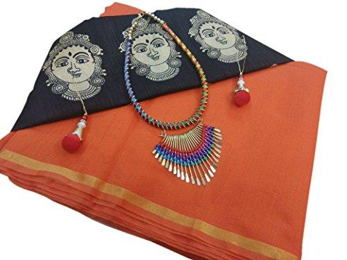 SilverStar Women's Chanderi Cotton Orange Color Saree With kalamkari Print Blouse Comes...