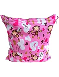 WINOMO Waterproof Zippered Diaper Nappy Bag With Monkey Pattern With Soft Snap Handle (Pink)