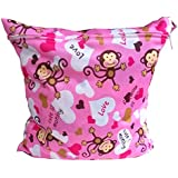 WINOMO Monkey Pattern Waterproof Zippered Baby Diaper Bag Tote With Handle - Pink