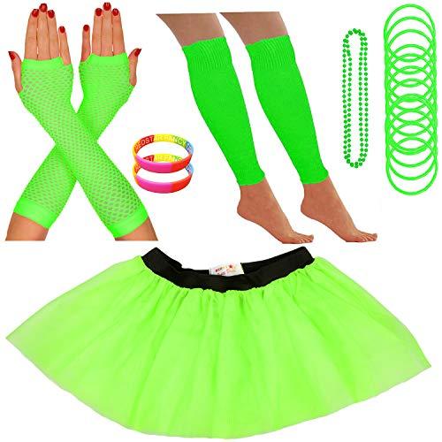 Redstar Fancy Dress - Tutu-Röckchen, Beinstulpen, Netzhandschuhe, Perlenkette, schmale Gummiarmbänder und breite Armbänder - Neonfarben - Grün - ()