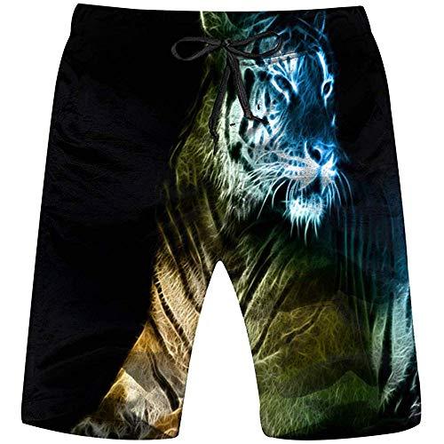 Dibujo Digital Tigre Arte Animales Fauna Hombres Pantalones Cortos De Playa Pantalones Cortos Ligeros...