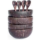 Cuenco y cuchara de coco (juego de 4) - 100 % natural, hecho a mano, pulido con aceite de coco, duradero, ligero, fácil de limpiar, apto para veganos Para el desayuno, servir, decoración.