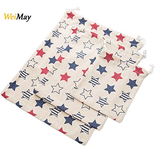 Machen Drawstring Handtasche (WeiMay Aufbewahrungs tasche Fünf-spitzer Baumwoll Leinen Kordelzug Lagerung Tasche Trümmer Tasche Handtasche 3 Stück)