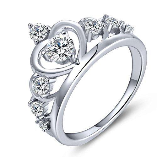 YL Jewelry Damen Ring 925 Sterling Silber Krone Zirkonia Ring Verlobungsring