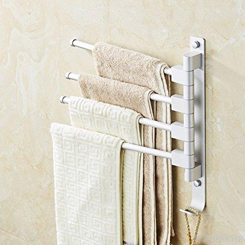 LHbox Tap Wc im Badezimmer Kleine Handtuchhalter Coole Handtuchhalter aus der Bohrung der Einhebelsteuerung Double Rod Rotation Raum Regale aus Aluminium, Matt Weiß 3 Bar - Weiß 3 Regal Bar
