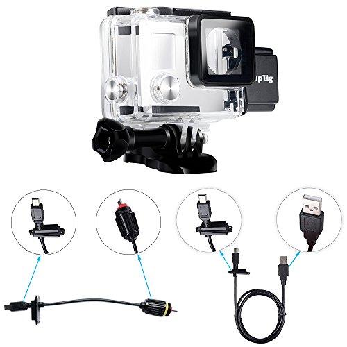 SupTig Gehäuse wiederaufladbar Wasserdichtes Gehäuse für Gopro Hero 4Hero 3+ Hero3außerhalb Sport Kamera für Unterwasser Nutzung Laden–Wasser Resistent bis zu 98ft (30m)