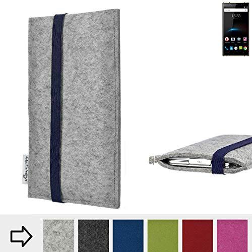 flat.design Handy Hülle Coimbra für Oukitel K3 - Schutz Case Tasche Filz Made in Germany hellgrau blau
