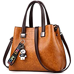 Coolives Mujeres moda elegante bolso con oso de dibujos animados en cuero de PU dama Hombro Crossbody Bolsa monedero