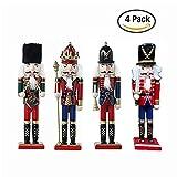 Bluespace adornos de madera decoración de Navidad figuras cascanueces marioneta Regalos juguetes de Navidad decoración para el hogar (12pulgadas) 12 pulgadas Set