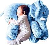 Minetom Baby Child's Elefantenkissen Weiches Plüsch Elefant Kissen Plüschtiere Schlafkissen Kids Lendenkissen Spielzeug Blau BigSize(60cm)