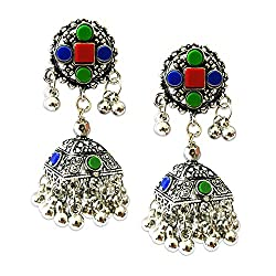 Young & Forever Tribal Muse Collection Splendid Brass Jaipur Jewels Antique Silver Oxidized Earrings for girls multicolor jumkha earrings jewellery for women by CrazeeMania (E60300)