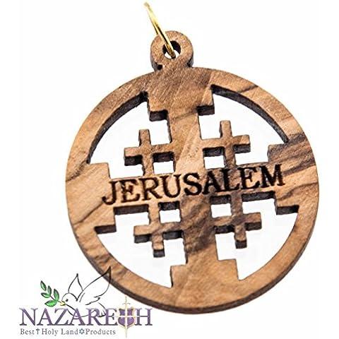 Hecho a mano ovalado Madera de olivo tallada a Cruz de Jerusalén Colgante De Tierra Santa de Christian 1.1