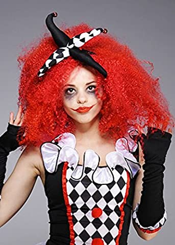 Ladies Halloween Gothic Clown Red Crimped Curly Adult Wig Fancy