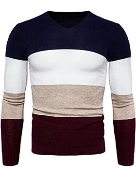 Jersey de Punto Hombre Suéter Manga Larga Cuello Redondo Pullover Chaqueta
