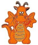 Unbekannt Bügelbild - Drache - orange - 5 cm * 6 cm - Aufnäher Applikation - Dinos - Drachen / Burg Ritterburg - gefährlich Feuer Drachenflicken - Drachenzähmen