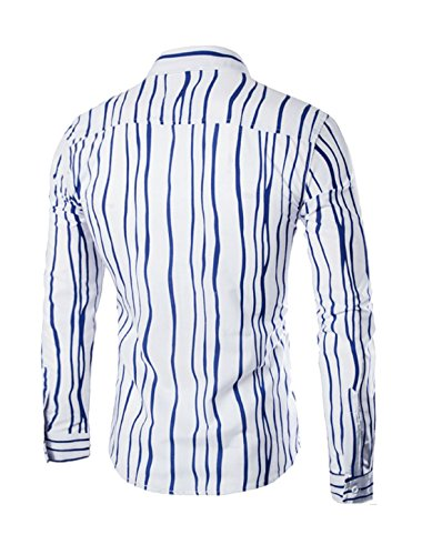 sourcingmap Hommes Manches Longues Veste Droite Rayures Chemise Coupe Cintrée Bleu 'oi