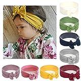 Simoda Joyfeel's Store Cintas para el pelo de Nylon para bebés Turbante Knotted Girls Hairband Super suave y elástica Wrap para recién nacidos Toddle para niños (Pack of 8#1)