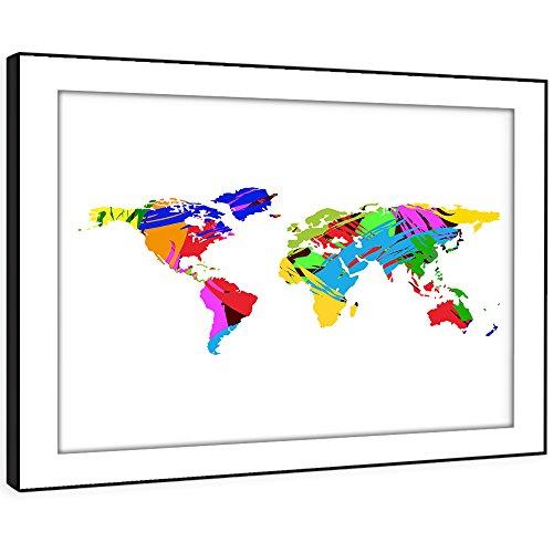 BFAB419c gerahmtes Bild Druck Wandkunst - moderne Kunst Weltkarte moderne abstrakte Landschaft Wohnzimmer Schlafzimmer Stück Wohnkultur einfach hängen Führung (58x41cm)