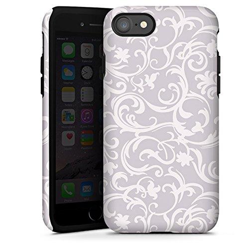Apple iPhone X Silikon Hülle Case Schutzhülle Blumen Grau Abstrakt Tough Case glänzend