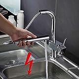 Auralum Niederdruck Küchenarmatur Herausziehbar Spültischarmatur Küche Wasserhahn Niederdruck Waschtischarmatur Mischbatterie für Küche Einhandmischer Amatur