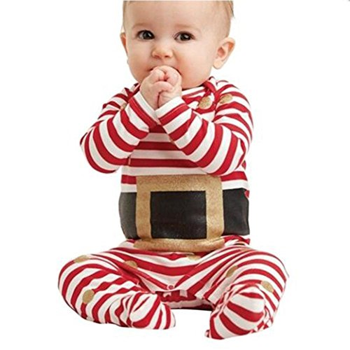DAYSEVENTH Fashion Infant Baby Boy Girl Christmas Suit Romper Jumpsuit Clothes (6M, Red)