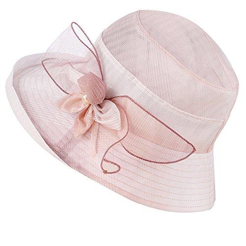 (iKulilky Frauen Sommer Outdoor Breiter Krempe Strand Hut Faltbare UPF50 + Sonnenschutz Hut Vintage Fedora Bucket Cap)