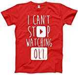 I Can't Stop Watching Oli - Vlogger Star Kids and Teen T-Shirt - Various Colours and Sizes - Oli white oli white book oli white merch oli white merchandise cactus boy - Age 9/11 - 34'' Red