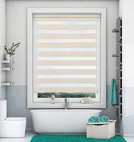 Doppelrollo Klemmfix ohne Bohren Leinen 105x150cm Duo Rollo mit Klämmträgern Sicht und Sonnenschutz für Fenster und Türen