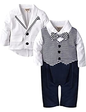 Zoerea 2tlg Baby-Jungen Bekleidungssets Strampler + Anzug Mantel Gentleman Baumwolle Weiß Stripe Drucken Bowknot...