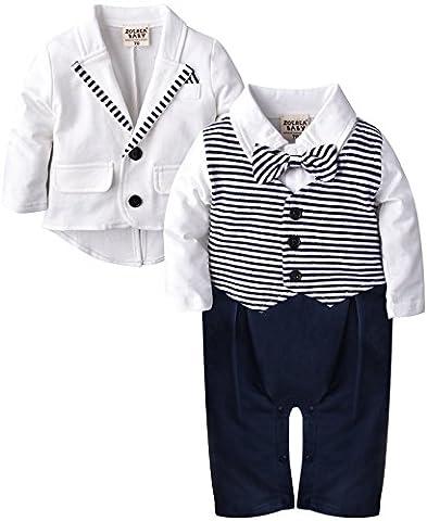 ZOEREA bébé garçon Vêtements Définit Bodys et combinaisons + Costume Manteau Gentleman en coton blanc à rayures Imprimer bowknot manches longues de baptême de bébé de Noël de mariage (3-18M)