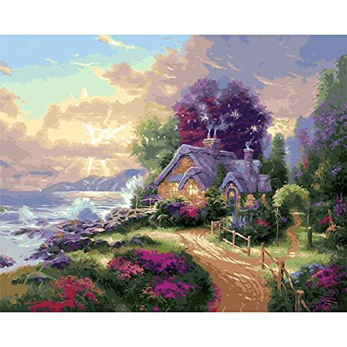 ERQINGSZH Digitales Malen Landschaft Blume Insel Blau Meer Bilder Ölgemälde Bild by Zahlen Digitale Bilder DIY Färbung Einzigartiges Geschenk Wohnkultur