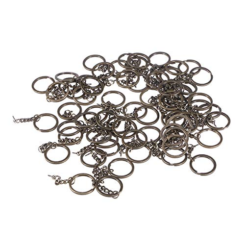 100 pcs catene chiave in bronzo con anello di prolunga a catena aperta e connettore a vite a forma di occhi per la realizzazione di gioielli fai-da-te