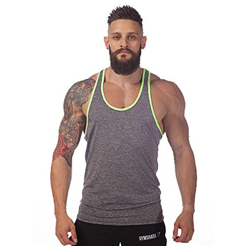Botetrade Men Cotton Stringer Fitness Gym Shirt Solide Sport Weste Grau / Gr¨¹n XXL