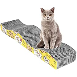 Woopower - Tabla de rascar para gatos con forma de gato y rascador para mascotas, alfombrilla para gatos, juguete interactivo