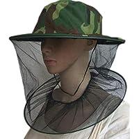 Sombrero de Camuflaje Superior Sombrero de Apicultura Velo Combo Sombrero de Abeja Máscara de Malla de Insecto - Camuflaje Verde