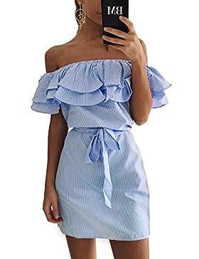 Fleasee Damen Shulterfrei Minikleider Off-Shoulder Strandkleider Ärmellos Streifen Sommerkleid mit Carmenausschnitt