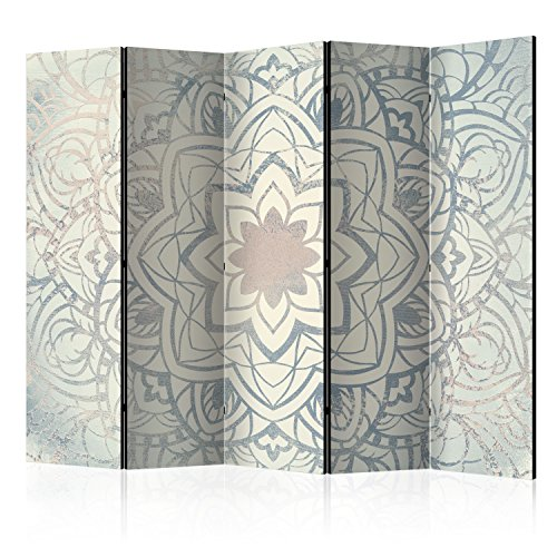 murando Raumteiler Mandala Ornament Oriental Foto Paravent 225x172 cm beidseitig auf Vlies-Leinwand Bedruckt Trennwand Spanische Wand Sichtschutz Raumtrenner beige grau blau f-A-0486-z-c