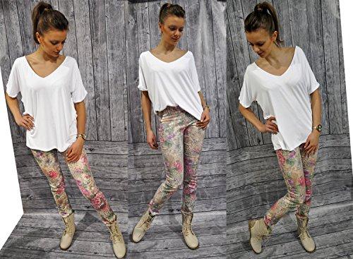 Damen T-shirt Kimono Damen Top V-Ausschnitt Oversize Loose Bluse Street Style S M L XL (120) Rot