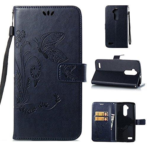 Solid Color Faux Leder Bookstyle Brieftasche Stand Case mit geprägten Blumen & Lanyard & Card Slots für ZTE Z986 ( Color : Gray ) Darkblue