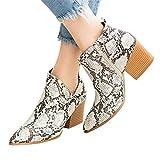 Botines con Suela de Goma para Mujer Botas Mujer Altas Rodilla Plano Hebillas PU Cuero Cremallera Zapatillas de Vestir Botines con Estampado de Leopardo para Mujer